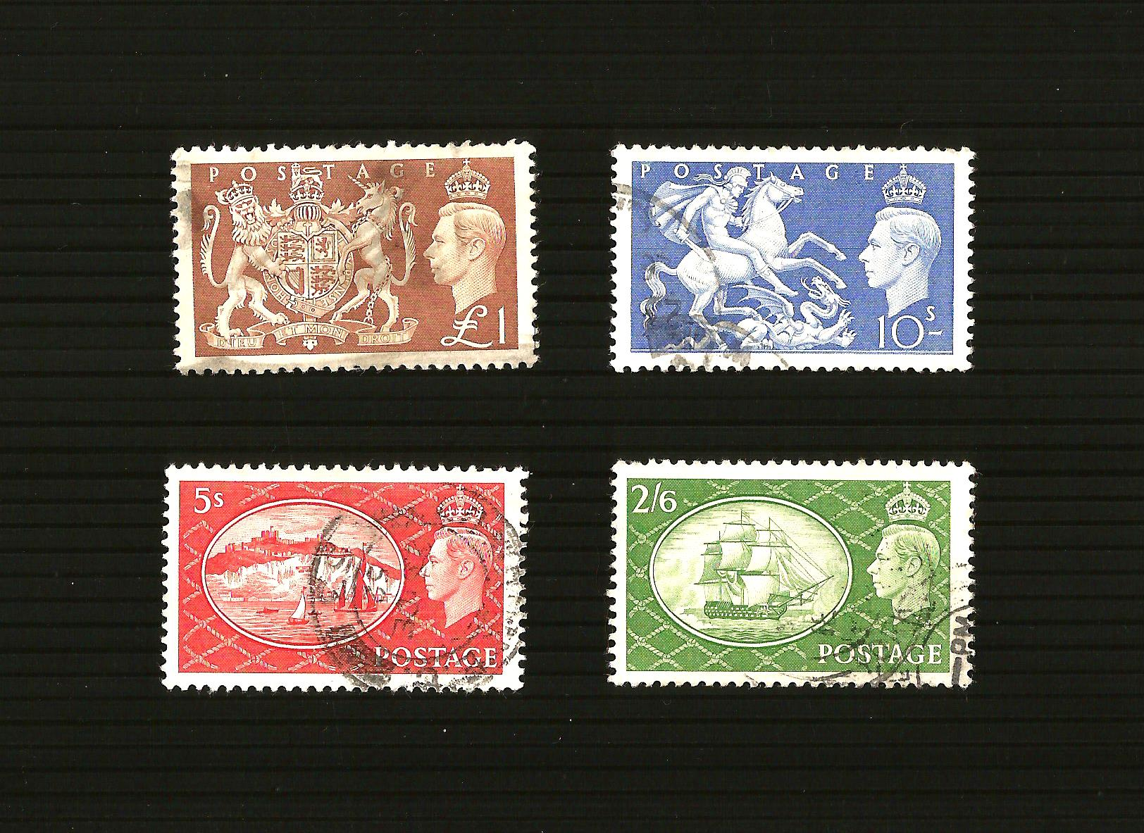 GB 1951 SG509 - 512 Festival High Value Definitives Very Good to